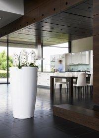 pflanzs ule wei rund in zwei gr en aus kunststoff. Black Bedroom Furniture Sets. Home Design Ideas