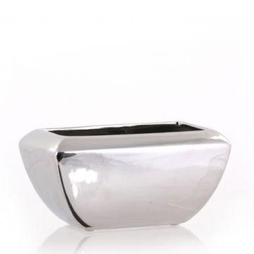 l ngliche rechteckige pflanzschalen aus keramik silber. Black Bedroom Furniture Sets. Home Design Ideas