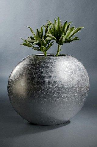 vase blumenk bel ovale fiberglas silber hochglanz onlinesho. Black Bedroom Furniture Sets. Home Design Ideas