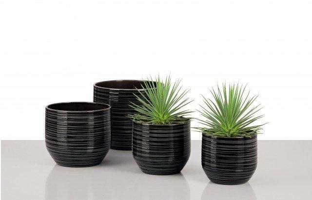 runder bertopf black illusion dunkelgrau mit schwarzen. Black Bedroom Furniture Sets. Home Design Ideas