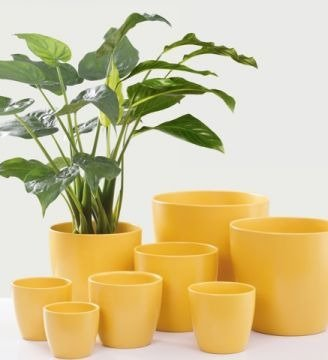 gelbe blument pfe aus keramik rund online kaufen. Black Bedroom Furniture Sets. Home Design Ideas