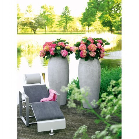 blumenk bel aus polystone in grau. Black Bedroom Furniture Sets. Home Design Ideas