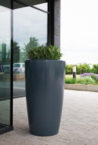 Pflanzsäule Anthrazit rund in zwei Größen aus Kunststoff ...